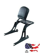 BLACK HARLEY DAVIDSON DETACHABLE DYNA BACKREST SISSY BAR +LUGGAGE RACK 2006-2017