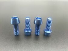 4pcs M6x16mm Titanium Ti Bike Stem Blue Bolts Taper Head Bicycle Conical