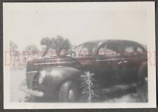 Vintage Car Photo Pretty Girl on Hood Washing 1940 Ford Deluxe 670866