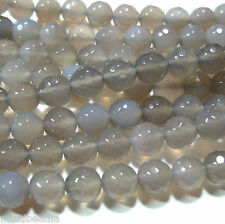 "Sparkling Gray Agate 8mm Faceted Round Beads 15"" Great Spacer Natural Stone"