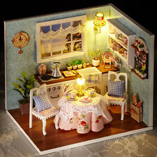 "DOLLHOUSE MINIATURE DIY KIT W/ LIGHTS, ""HAPPY LIFE SERIES"",H-008, HAPPY KITCHEN"