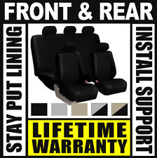 Solid Black Deluxe Syn Leather Full Car Seat Covers Set OEM Waterproof SUV Bu