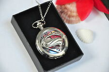 Superman Super hero Pocket Watch Stainless Steel Chain Pendant Necklace Gifts