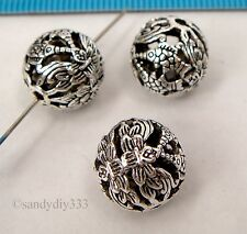 1x STERLING SILVER ROUND FOCAL CHINESE STYLE FISH SPACER BEAD 12mm #2343
