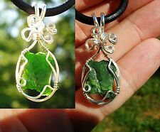 Chrome Diopside Give Receive Love Chakra Sterling Silver Wire Wrap Reiki Pendant