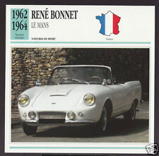 1962 1963 1964 Rene Bonnet Le Mans Convertible Car Photo Spec Sheet French Card