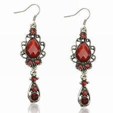Long Rhinestone Diamante Ruby Teardrop Eardrop Hook Dangle Stunning Earrings