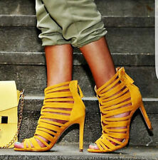 ZARA YELLOW MUSTARD CAGED STYLE STRAPPY HIGH HEEL SANDAL SHOES REF. 6600/101 36