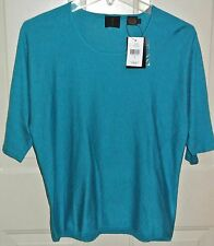 MAG Magaschoni Sweater Silk Cashmere Azure NWT Short Sleeve Size L Womens