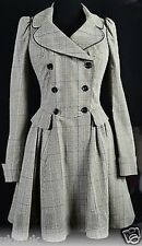 Topshop Premium Fitted Check Steampunk Victoriana  Riding Coat - Size 8