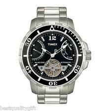 NEW TIMEX SILVER,BLACK S/STEEL AUTOMATIC DATE,TACHYMETER,100M WATCH-T2M518
