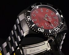 Invicta Pro Diver 23007 Black Gunmetal Red Dial Stainless Steel Bracelet Watch!!
