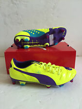 Puma Mens evoPOWER 2 Mixed SG Football Boots - Size UK 7 - Yellow/Violet - BNIB