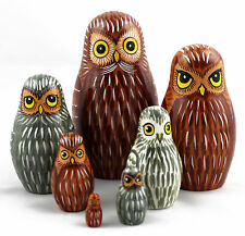 Owls Russian Wooden Nesting Stacking Handmade Dolls Bird Matryoshka Babushka 7pc