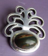 Dublin Sterling Silver Brooch Pin With Natural Stone 1970 year Ireland Hallmarks