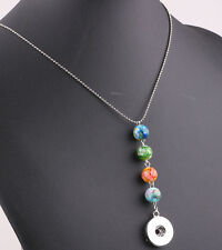HOT DIY Beads pendant chain necklace fit 18mm nosa chunk snap button j5822