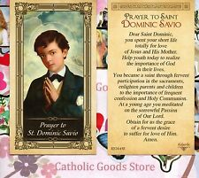 St Dominic Savio with Prayer to Saint Dominic - Glossy Paperstock Holy Card