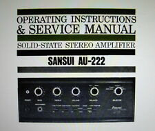 SANSUI AU-222 SS ST AMP OPERATING INSTRUCTIONS AND SERVICE MANUAL BOUND ENGLISH