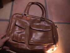 "nordstrom distressed tan leather purse shoulder bag hand bag 13"" x 10"" uni-sex"