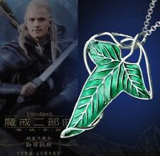 Lord of The Rings Green Leaf Of Lorien Elven Pin Brooch Pendant Chain Necklace
