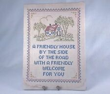 Vintage Embroidered Picture With Friendly Message, Cross-Stitched On Pure Linen