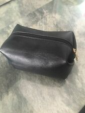 Quality Black Leather Make-Up Bag with Black and Gold Zip