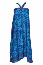 BOHEMIAN WRAP SKIRT PAISLEY PRINT BLUE HALTER GYPSY PREMIUM SILK SARI DRESS