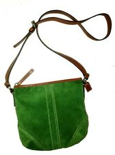 MINT EUC Coach Soho Vtg Style Crossbody Mini Purse Shoulder Bag Suede Green+Tan