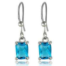 Fashion Emerald Cut White Gold Plated Swarovski Elements Dangle Drop Earrings