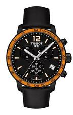 T0954173605701 Tissot Quicster Men's Watch Black Dial Orange Bezel Black Leather