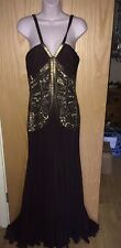 AMANDA WAKELEY BROWN SILK CHIFFON LONG EVENING GOWN WITH BRONZE BEADING SZ 10-12