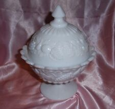 Westmoreland Covered Milk Glass Candy Dish With Fruit