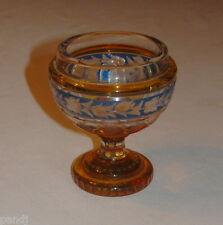 ANTIQUE BOHEMIAN CZECH RARE AMBER & BLUE CUT to CLEAR CRYSTAL BOWL
