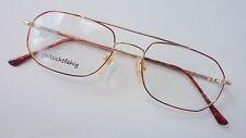 Herren Brillenfassung Metall GR:M 52-17 Doppelsteg dünner Rand leicht gold braun