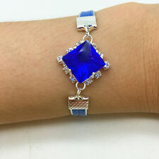 NEW Jewelry Fashion Blue Square Crystal Leather Cute Infinity Bracelet Silver S1