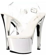 New~Pleaser Sky-308 Silver Mirror Platform Clear Heel Exotic Dancer Stripper 5