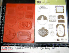 STAMPIN UP TAGS TIL CHRISTMAS 9 CLING RUBBER STAMPS ORNAMENT SNOWMAN
