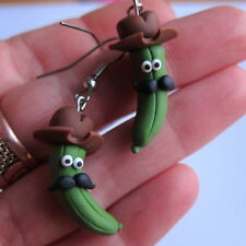 fimo food cute funny green pickles gherkins moustache hat handmade earrings