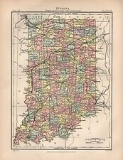 1880 ca ANTIQUE STATE MAP-USA-INDIANA