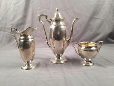 Antique International Silver Sterling 3 Piece Tea Set Pot Creamer Sugar 743 Gram