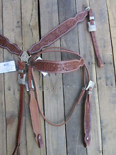 WESTERN HEADSTALL BREASTCOLLAR FLORAL OAK TOOLED LEATHER BARREL HORSE BRIDLE