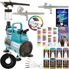 3 Airbrush Kit 6 Primary Colors Cool Runner Air Compressor Dual-Action Painting