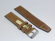 "DI-Modell Genuine Vintage Waterproof Leather 22 mm M' BROWN Watch Band ""NEVADA"""