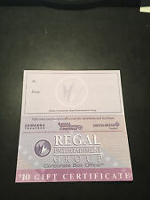 10 Regal Movie $10 Gift Certificates Good 4 Admission Tickets Passes Concession.