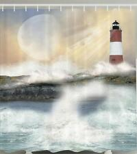 RED WHITE LIGHTHOUSE ON ROCKY SHORE WAVES CRASHING ON ROCKS Shower Curtain
