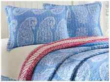 (2) Echo Design Woodblock Paisley Standard Queen Shams Quilted Blue White Floral