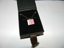 Bench pink enamel 3 tone square design ball chain necklace New silver tone