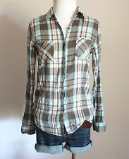 Forever 21 Plaid Checkered Utility Button Down Long Sleeve T Shirt Top Blouse S