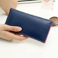 Women Leather Card Cash Receipt Holder Organizer Long Folding Wallet Purse