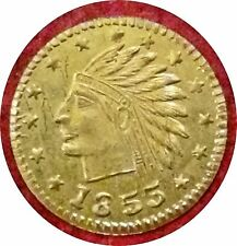 1855 VINTAGE CALIFORNIA GOLD TOKEN ~ REAL GOLD $1 DOLLAR SIZE ~ VERY NICE GRADE